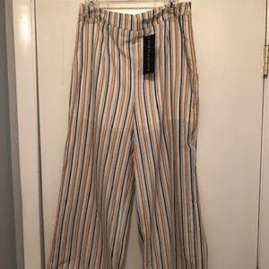 Anthropology Paper Crane Striped Pants Tassel Hem